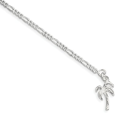 925 Sterling Silver 10 Inch Solid Palm Tree Anklet Ankle Beach Chain Bracelet Seashore Fine Jewellery For Women Gifts For Her
