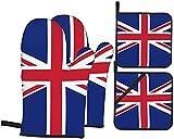 Ofenhandschuh & Topflappen Set Hitzewiderstandsfähige Topfhandschuhe Baumwolle Hitzewiderstandsfähige rutschfeste Backhandschuhe für die Küche die Kochen Backen BBQ (Flagge des Vereinigten Königreichs)