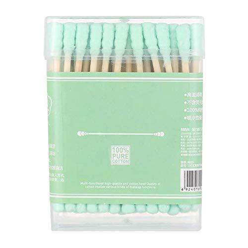 Bdesign Bambou Coton Bio Buds - Eco-Friendly et Biodégradable.Têtes applicateur Double Outil Coton Buds Sticks Nez Bois Bambou Oreilles Nettoyage (Cinq boîtes) (Color : Green, Size : 100 Pcs)
