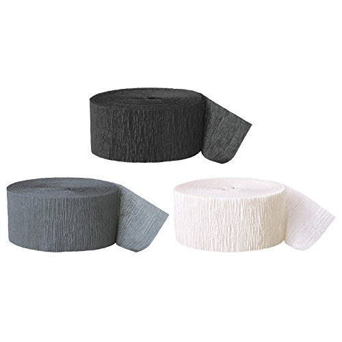 Andaz Press Crepe Paper Streamer Hanging Party Decorations Kit, 240-Feet, Black, Gray, White, 1-Pack, 3-Rolls, New Years Gradaution Colored Wedding Baby Bridal Shower Birthday Supplies