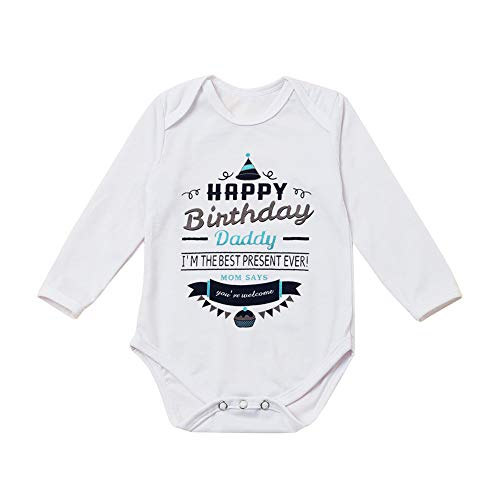 G-Amber Happy Birthday Daddy Baby Boys Girls Romper Bodysuit Infant Funny Letter Long Sleeves Jumpsuit Outfit 12-18Months