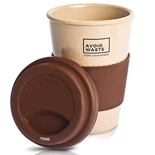 Avoidwaste Nachhaltiger Kaffeebecher to go aus Reishülsen. Der Mehrweg-Becher ist pflanzlich, biologisch abbaubar, BPA frei, spülmaschinengeeignet und umweltfreundlich (braun)