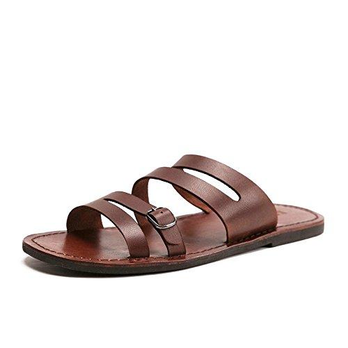 Xingyue Aile Zapatillas y sandalias Zapatillas de moda casual de verano for hombre, diseñador for hombre, piel de vaca, chanclas, zapatos de playa transpirables, toboganes, playa, zapatos de agua