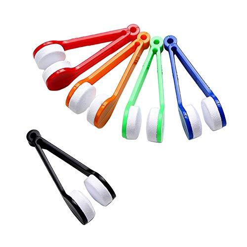 Upstore 5 UNIDS Mini Limpiador de Anteojos Portátil de Microfibra Multiuso Gafas Anteojos Limpiaparabrisas Suave Cepillo Scruber Herramientas de Limpieza con Pinzas de Plástico Mango Color Al