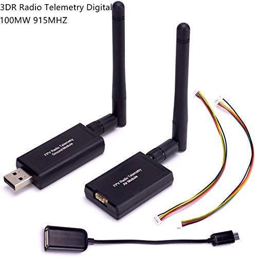 ICQUANZX Kit de telemetría de Radio 3DR 915Mhz 100mW Módulo Aire + Tierra Código Abierto Conexión Directa OTG para versión estándar APM2.6 APM2.8 pixhawk 2.4.6 2.4.8 Controlador de Vuelo