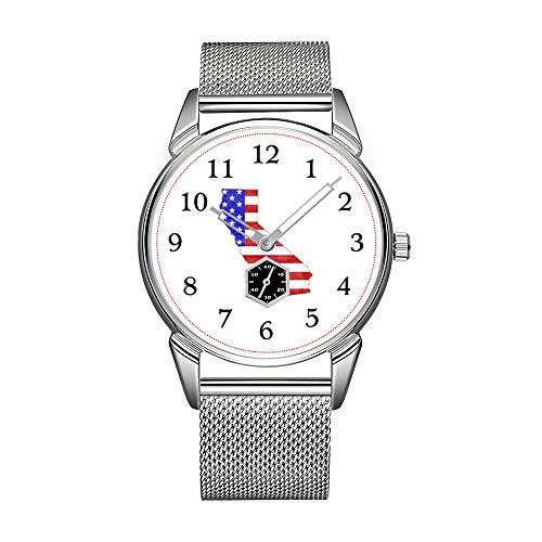 Mode Herrenuhr silbernen Edelstahl wasserdichte Uhr Männer Top-Marke Herrenuhr Uhr Kalifornien USA Silhouette Zustand Karte Armbanduhr