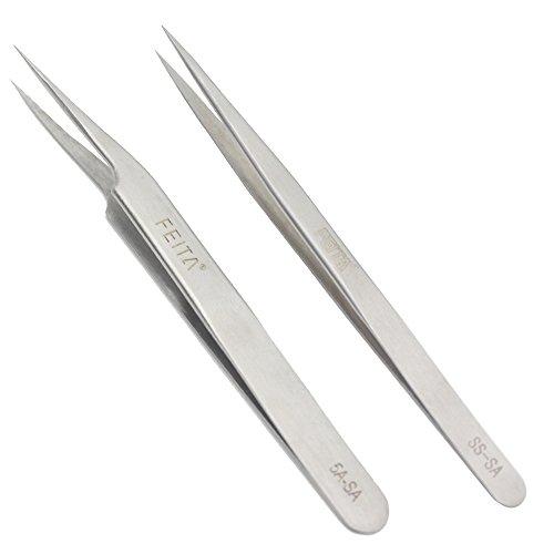 FEITA Pinzas de precisión profesionales de acero inoxidable con punta recta y inclinada, las mejores pinzas para extensión de pestañas, manualidades, joyas, cejas y depilación encarnada (2 unidades)