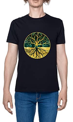 Golden Tree of Life Camiseta para Hombre Negro De Manga Corta Ligera Informal con Cuello Redondo Men's Tshirt Black L