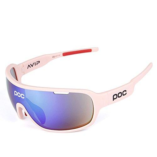 Gafas Polarizadas Deporte Bici Anti UV400 Gafas para Correr Running Antivaho con 5 Lentes Intercambiables Adaptadas También A Ciclismo Bicicleta De Montaña MTB,E