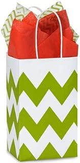 Apple Green & White Chevron Small Shopper Gift Bags - Quantity of 25