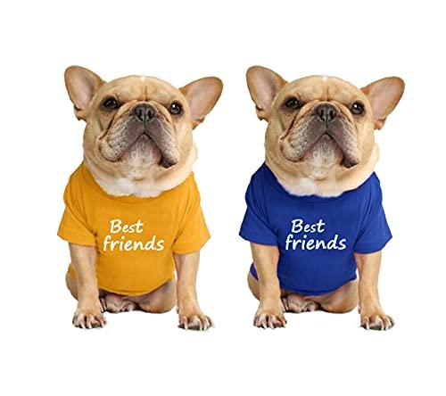 LAVRCJ Dog Shirt 2 Packs Breathable Soft Cotton Shirt Pet Dog Cat T-Shirt Cute Dog Clothing Puppy Clothes French Bulldog Clothing Summer Apparel for Small Medium Boy Girl Dogs - XL