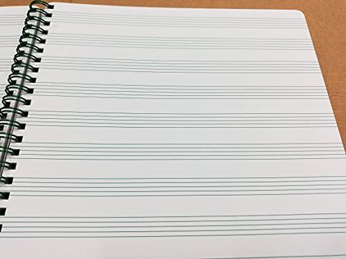 Álbum de partituras para música, bloc pentagramado con 12 líneas de color verde, 50 hojas, formato DIN A4, 21 x 30 cm, con espiral, papel grueso de 120 g, rayas color verde