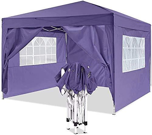 Gazebo emergente por un marco de metal robusto, pabellón pesado, adecuado para jardín, terraza, mercado de pulgas, boda, fiesta de cumpleaños,Purple-3x3m