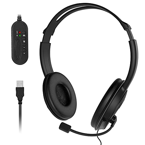 Maxshop USB Computer Headset with Microphone, Comfort-fit Office Computer Headphone with On-Line Volume Control, Over-The-Head Headset for Webinar Laptop Call Center Students Online Study (USB Jack)