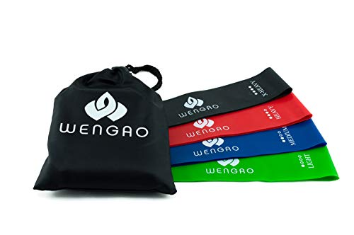 WENGAO Fitnessband 4er Set mit Beutel - geeignet für Yoga Pilates Crossfit Gymnastik Physiotherapie