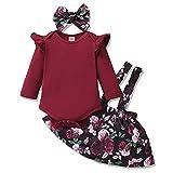 Amissz 3 PCs Bébé Fille Ensemble de Vêtement Robe Tenue Costume Mignon Barboteuse T-Shirt à Floral Manche Longue + Jupe + Bandeau 0-24 Mois