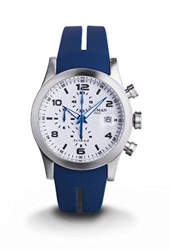Locman Island herenhorloge / wijzerplaat wit / roestvrij stalen behuizing / siliconen armband blauw