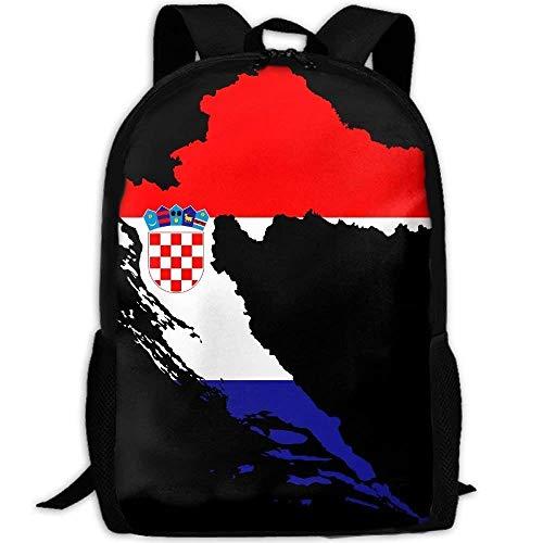 NA Rugzak Kroatië Kaart Vlag Met Stroke Womens Laptop Rugzakken School Tas Reizen Daypack