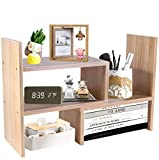 PENGKE Office Storage Rack Desktop Organizer,Home Decor Adjustable Wood Display Shelf,Birthday Gifts,True Natural Stand Shelf,Light Brown