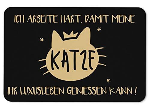 Fussmatte mit Spruch Ich arbeite hart damit Meine Katze Ihr Leben geniessen kann - Fußabtreter, Türmatte - Originelles Geschenk Katzenliebhaber (Schwarz-Goldton)