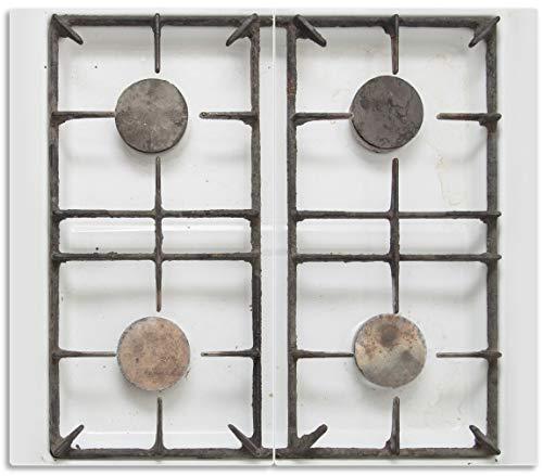 Wallario Herdabdeckplatte/Spritzschutz aus Glas, 2-teilig, 60x52cm, für Ceran- und Induktionsherde, Alter Gasherd, ungeputzt und dreckig