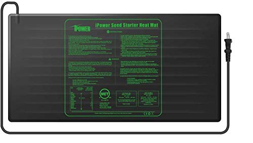 iPower GLHTMTL-A 48' x 20' Waterproof Durable Seedling Heat Mat Warm Hydroponic Plant for Indoor Gardening Germination Starting, Black