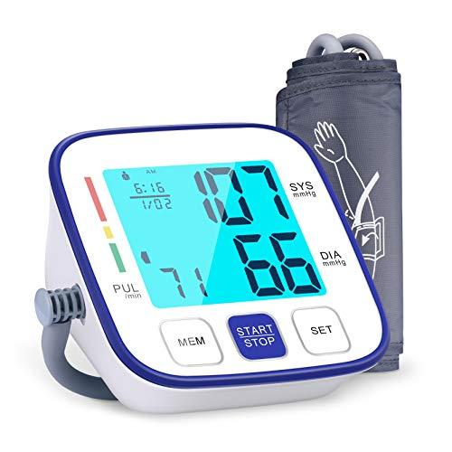 Blutdruckmessgerät für Oberarm, ATMOKO Vollautomatisch Blutdruckmessgerät mit Arrhythmie-Erkennung, 2x120 Speicherkapazität, 22-42cm große Manschette