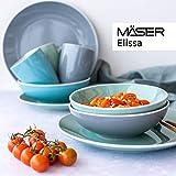 MÄSER 931770 Serie Elissa Modernes Geschirr Set für 6 Personen in Türkis mit weißem Rand, 24-teiliges Kombiservice, Steinzeug - 2