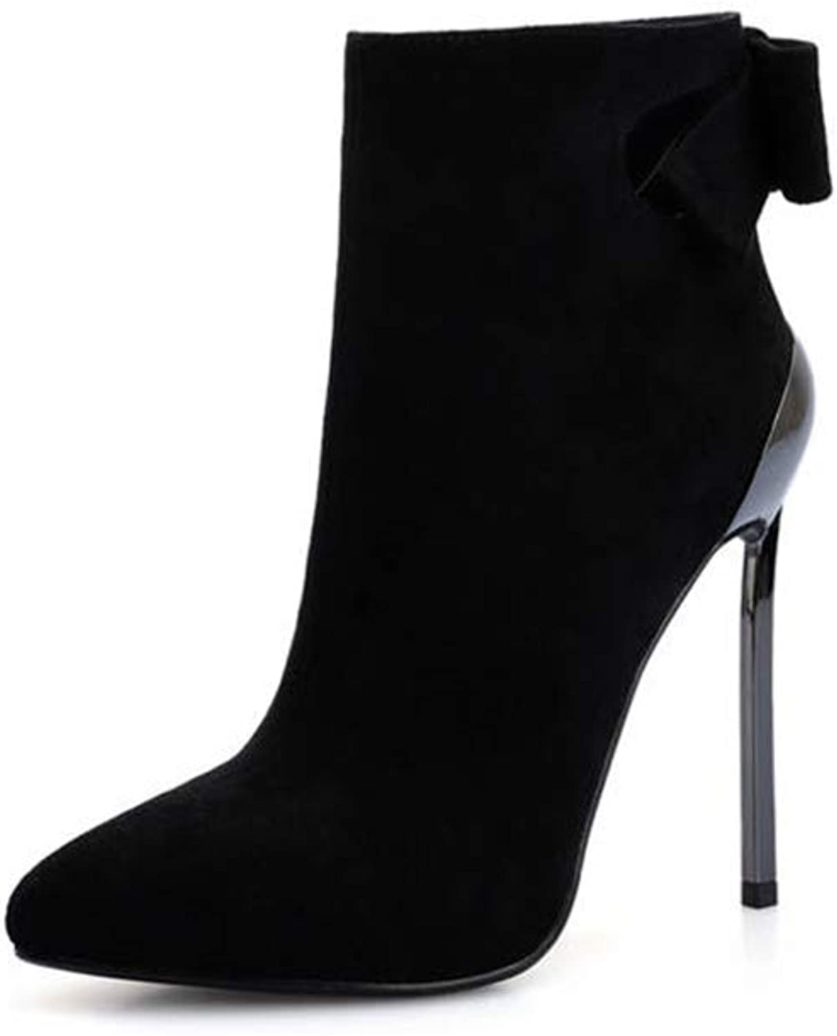 SANOMY Suede Stiletto Heel Ankle Boots for Women Sexy Pointed Toe High Heel Booties Elegant Wedding Party Chelsea Boots