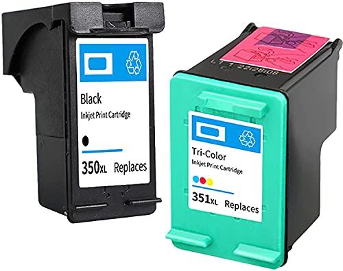 Ink E-Sale Remanufacturado 350XL 351XL para Cartucho HP 350 351 Compatibles con Deskjet D4260 D4360 Officejet J5780 J6410 Photosmart C4280 C4480 C4340 C4380 C4580 C4585 C5180 C5280,1 Negro 1 Tricolor