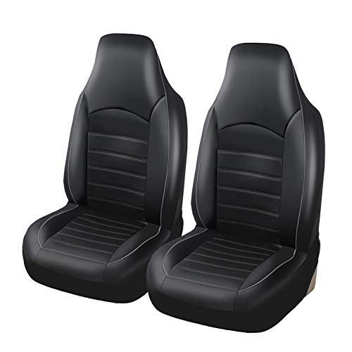 AUTOYOUTH Car Accessories Car Seat Covers Universal Front Pair Waterproof PU Leather Car Seat Covers for Cars & Supports & Airbag Compatible Auto Parts Car Seat Protector Car Seat Cushions, Gray