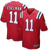 FCSL Julian Custom Edelman Patriots Camiseta deportiva de fútbol camiseta de Nueva Inglaterra, color blanco/azul marino/rojo No11 cifrado y tejido