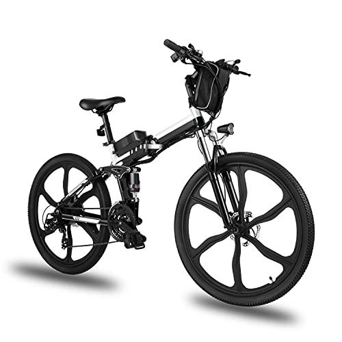 Elektrofahrrad E-Bike Klapprad, 26 Zoll Ebike Herren 250W Elektrisches Fahrrad Mit Herausnehmbarer 8Ah Batterie, Shimano 21-Gang-gänge, Citybike für Damen und Herren