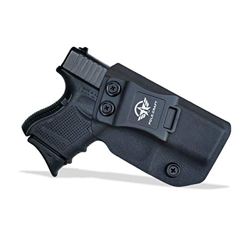 PoLe.Craft IWB Tactical KYDEX Gun Holster Custom Fits: Glock 26 27 33 Funda Pistola Case Inside Concealed Carry Holster Guns Accessories (Black, Right Hand Draw (IWB))