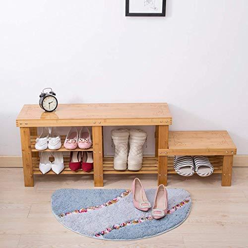 ZLININ Taburete de bambú para madera maciza de alto y bajo desgaste zapatos pequeño taburete simple cubierta de zapatos estante de almacenamiento de múltiples capas