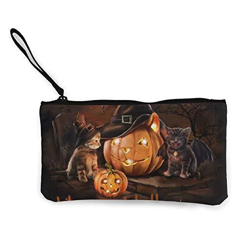 Moneda de lona, para Halloween, gato, lindo, con cremallera, bolsa de cosméticos de viaje, multifunción, bolsa de maquillaje, bolsa de teléfono móvil, paquete de lápices con asa