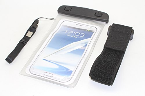 """NorthLogic """"Clear"""" Universal Waterproof Pouch Bag Case Cover for iPhone 5S / iPhone 5 / iPhone 4S / iPhone 4 / Samsung Galaxy S3 / Galaxy S4 / Galaxy S5 / Note 2 / Note 3 Smartphones With Screen Sizes Up To 5.7"""" Waterproof Pouch Bag Case Cover For Cellphones , Best For Swimming, Jogging or Outdoor Activities, Included Armband and Neckstrap"""