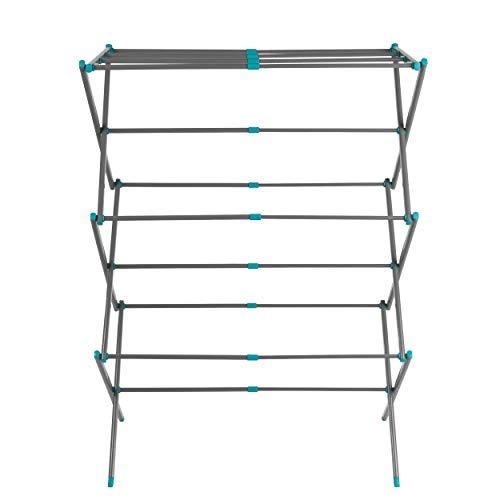 Beldray LA077615EU7 Aireador de ropa expandible de tres niveles | 7 metros de espacio de secado | Ligero | Compacto | Plegable para un almacenamiento conveniente | Turquesa y Gris