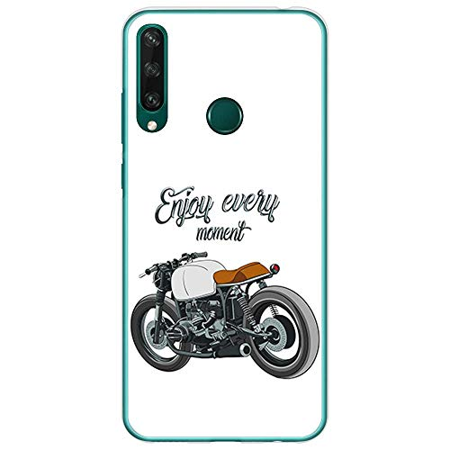 BJJ SHOP Transparent Hülle für [ Huawei Y6p ], Klar Flexible Silikonhülle, Design: Motorrad Klassiker Caferacer, Enjoy Every Moment