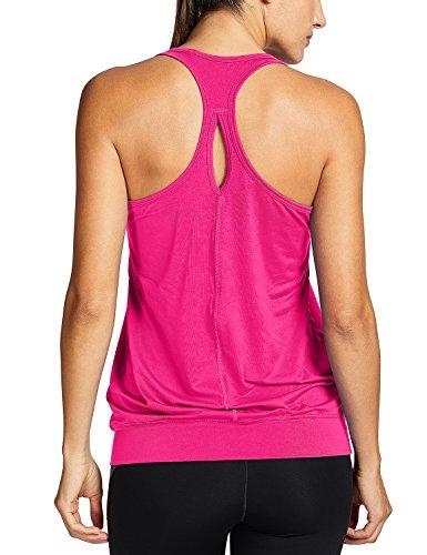 SYROKAN Damen Sport T-Shirt Tank Top - Ringerrücken Gym Elastische Fitness Magenta 38