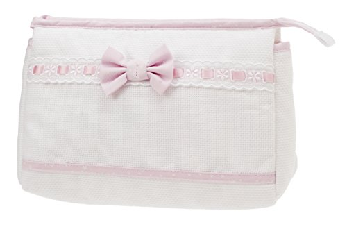 FILET – Beutel mit Reißverschluss I Reisetaschen I aus Aida-Stoff zum Besticken I Produkt hergestellt in Italien – Weiß, Rosa