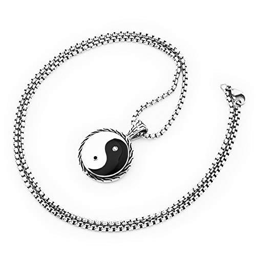 Collar Colgante Yin Yang de Acero Inoxidable, Punk Hip Hop 18K Oro Plateado Moneda Taoísta Talisman Onlaid Zircon Rezando Amuleto Joyería, Cadena de Perlas de 27 Pulgadas,Plata