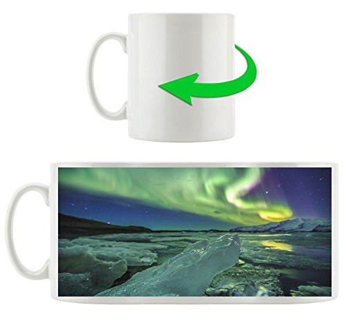 Auroral über Gletscher Jokulsarlon Island, Motivtasse aus weißem Keramik 300ml, Tolle Geschenkidee zu jedem Anlass. Ihr neuer Lieblingsbecher für Kaffe, Tee und Heißgetränke