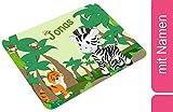 CreaDesign, Frühstücksbrettchen Kinder mit Namen personalisiert, Brettchen Kunststoff Motiv Safari-Zebra, Schneidebrett Größe 20 x 25 x 0,4 cm