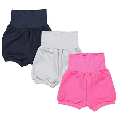 TupTam Baby Mädchen Kurze Pumphose 3er Pack, Farbe: Farbenmix 4, Größe: 80-86