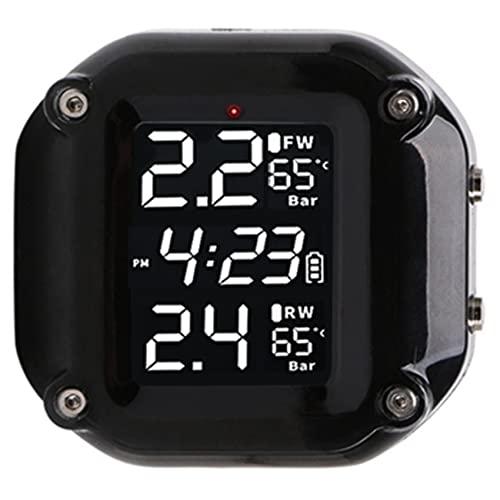 Milkvetch Sistema de Monitor de PresióN de NeumáTicos de Motocicleta Moto TPMS Alarma de NeumáTico de Bicicleta AutomáTica Monitor LCD en Tiempo Real para Motocicleta de Dos Ruedas