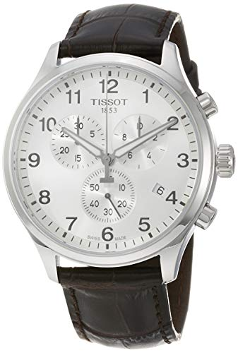 TISSOT Herren Chronograph Quarz Uhr mit Leder Armband T1166171603700