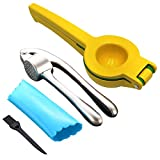 Garlic Press and Lemon/Lime Squeezer, Stainless Steel Garlic Mincer and Chopper Ginger Peeler Set, Professional Kitchen Mincer with Silicone Tube Roller, Dishwasher Safe