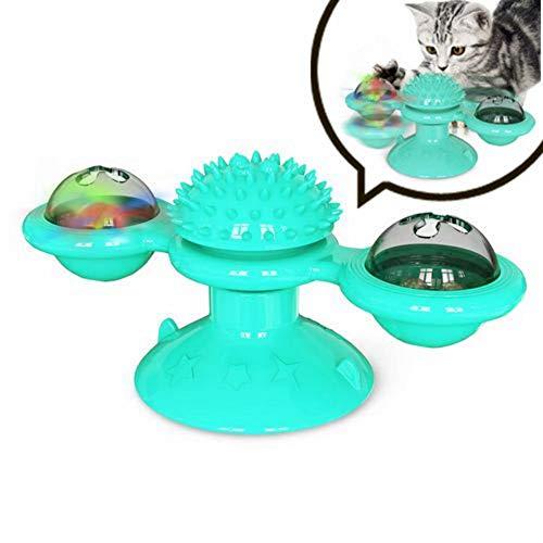 Windmühle Katzenspielzeug, Turntable Teasing Pet Toy, Interaktives Katzenspielzeug mit Saugnapf, Kratzkitzel Katzen Haarbürste, Katzenpflege Shedding Massage, Funny Kitten Windmill Ball