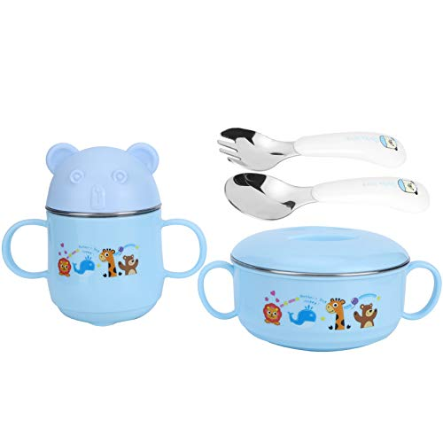 Vajilla bonita con cuchara y tenedor, reutilizable para la cocina para niños (azul)